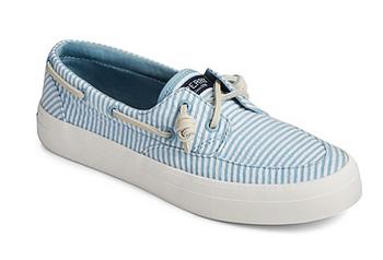 Sperry Women's Crest Boat Seersucker Sneaker (Blue)