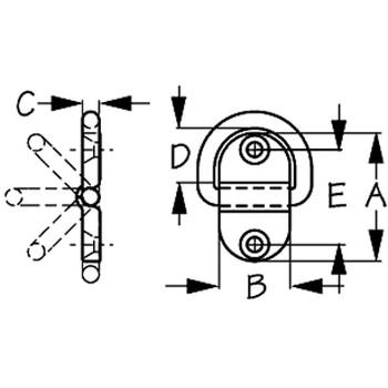 Sea Dog Small Folding D-Ring  Drawing