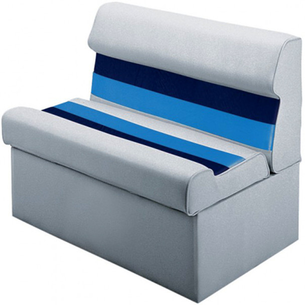 "Wise Plastic Frame Deluxe Pontoon Furniture - 36"" Lounge Seat w/Base  WD100 White/Navy/Blue"