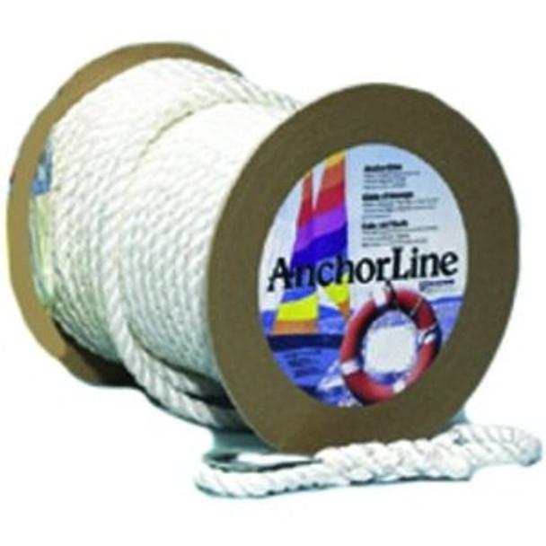 "Unicord White Twisted Nylon Anchor Line 5/8"" x 150'  300563"