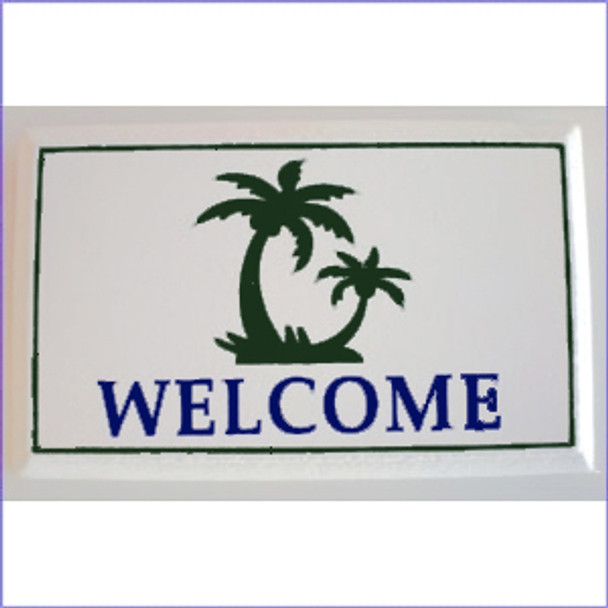 """Welcome Plaque with Palm Tree 4"""" x 6""""  MR-WLCM"""