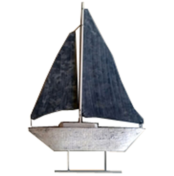 Sailboat Decoration Wood and Tin 15 in Tall