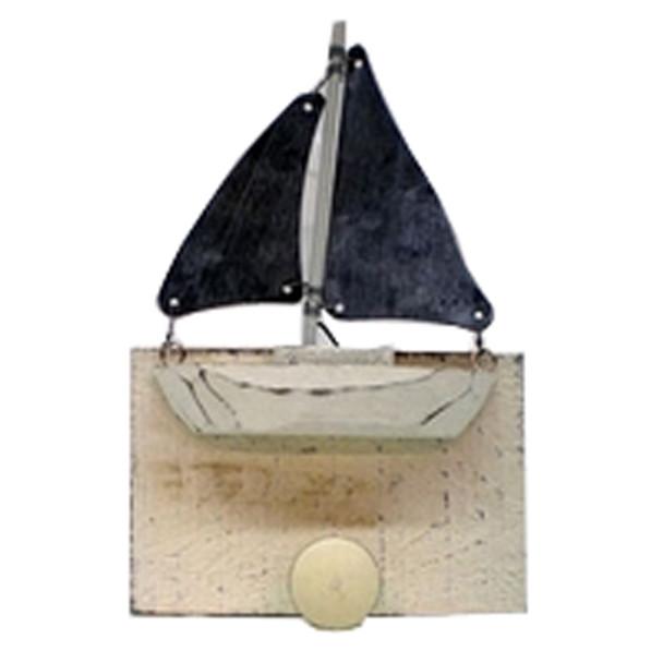 Wooden Sailboat Coat Hook Wood and Tin