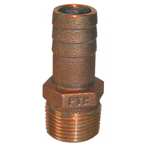 """Groco Bronze Fitting 1/2"""" NPT to 1/2"""" or 5/8"""" Straight Hose Fitting"""