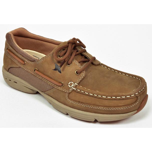 Rugged Shark Men's Hatteras 3 Eye Boat Shoe (Oak)  RS-HATTERAS