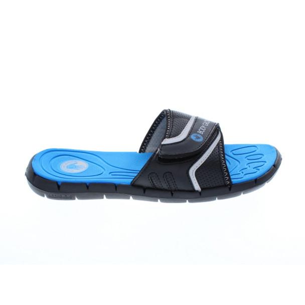 Body Glove Men's Strapped Slide Sandal (Black/Royal Blue)