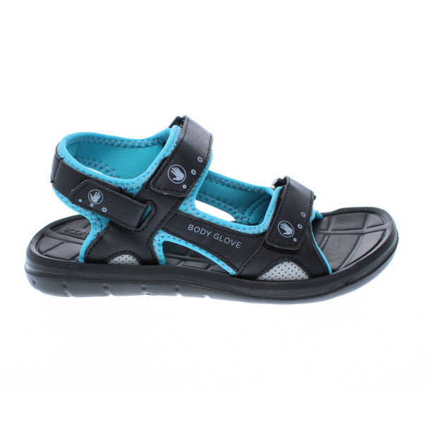 Body Glove Women's Trek Adjustable Strap Sandals (Black/Oasis Blue)