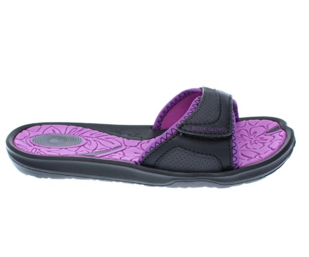 Body Glove Women's Prima Slide Sandals (Black/Oasis Purple)