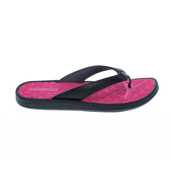 Body Glove Women's Oasis Flip Flop Sandals (Black/Flamingo Pink)