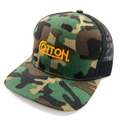 Cotton Camo Hat W/ Neon Orange Embroidery