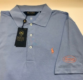 Cotton, Polo- Austin Blue w/Orange