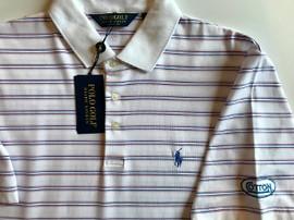 Cotton, Polo- White w/Blue/Pink Stripes