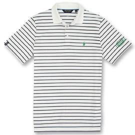 Cotton, Polo- White w/Navy Stripes