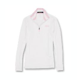 Cotton, Polo- Ladies, Performance 1/4 Zip, White/Pink