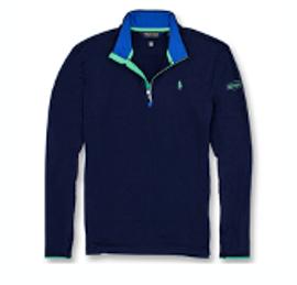 Cotton, Polo- Mens Performance, 1/4 Zip, Navy/Green