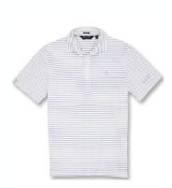 Cotton, Polo- White/Blue Mist Stripes
