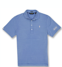 Cotton, Polo- Blue Mist w/Leaf Stripes