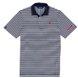 Cotton, Polo- White w/French Navy (red logo) Stripes