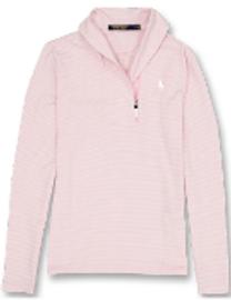 Cotton, Polo- Ladies Pullover, Pink w/White Stripes