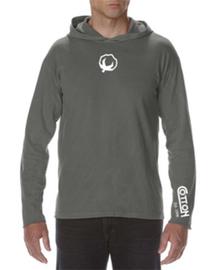 Cotton Long Sleeve Hooded Shirt - Grey