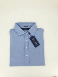Cotton, Lisle Stretch Polo, Light Blue/White Stripes