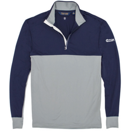 Cotton, Polo- Navy/Grey Colorblock 1/4 Zip