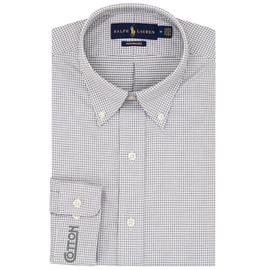 Cotton, Polo- Button-Down, Grey/White