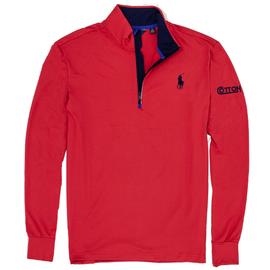 Cotton,  Polo - Mens Performance 1/4 Zip, Red