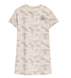 Cotton 25th  Anniversary  T-Shirt Dress, Camo