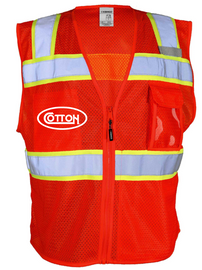 Cotton Safety Vest Mesh - Red HSE