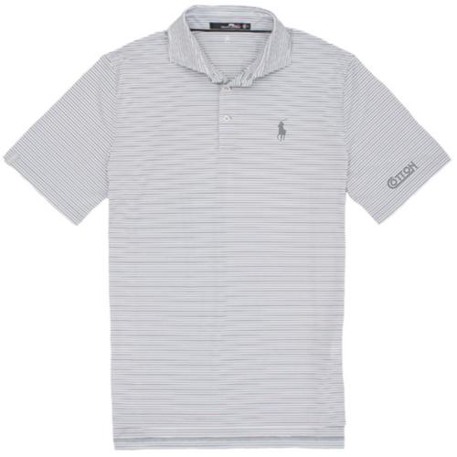 Cotton, Polo- Grey/White/Black Multi Stripe RLX