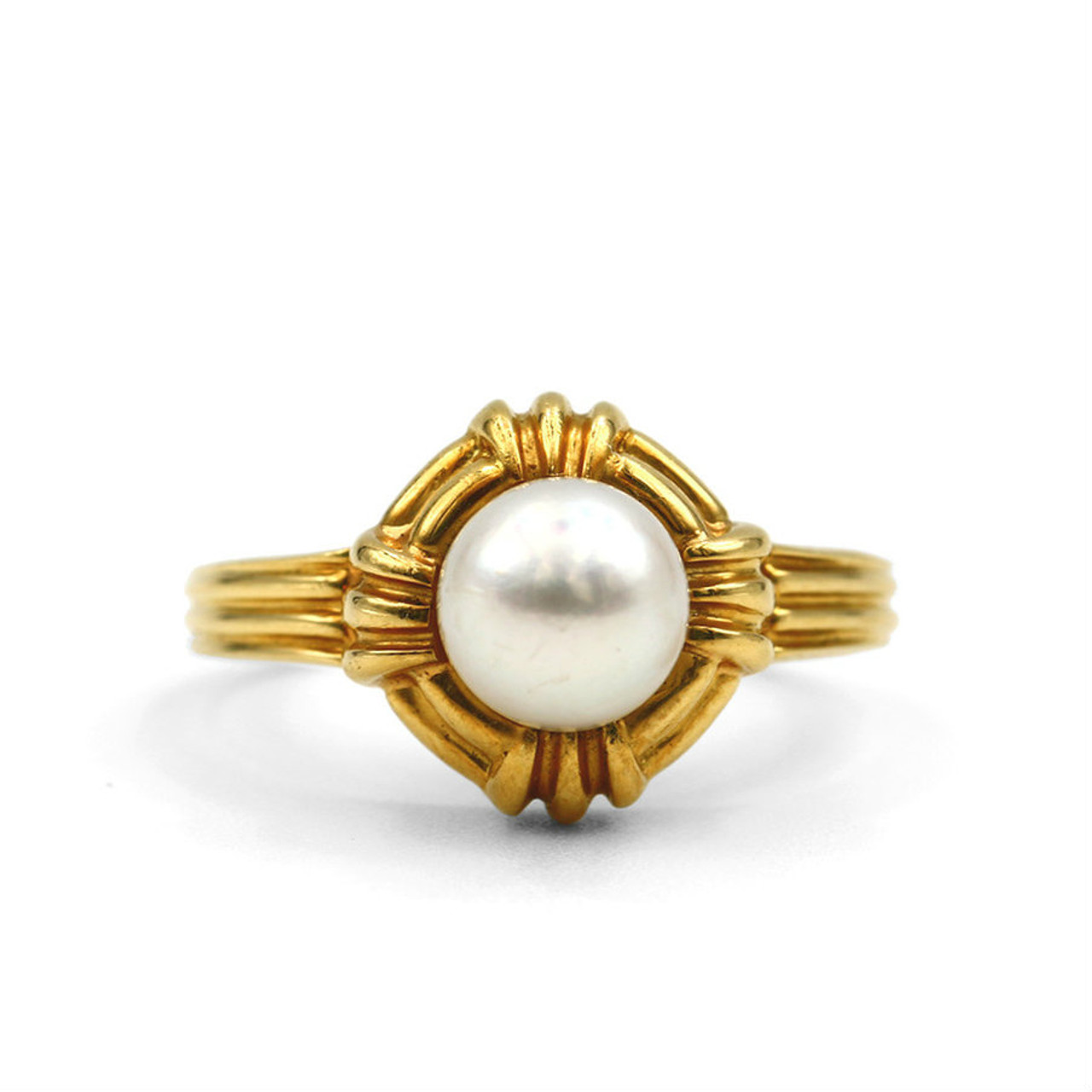 fa9a13b0e 18K Yellow Gold Tiffany Pearl Ring - Lippa's Estate and Fine Jewelry