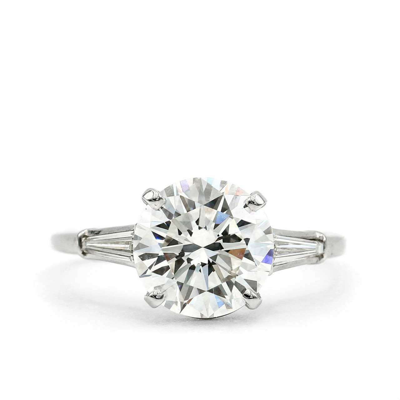 Platinum 3 44ct Round Brilliant Cut With Tapered Baguettes Lippa S Estate And Fine Jewelry