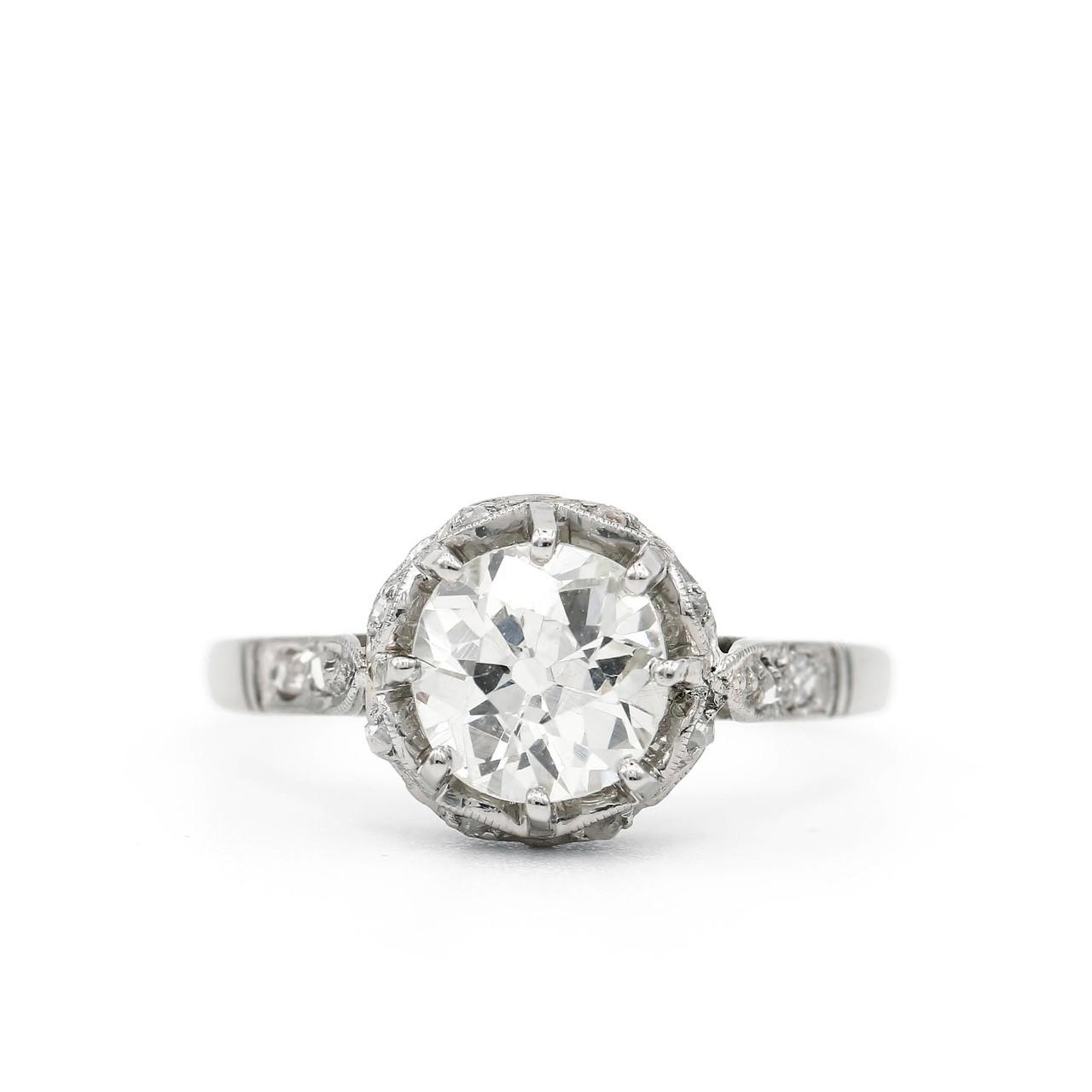 b066f09d876d3 Platinum 1.11 Carat Old European & Rose Cut Diamond Ring