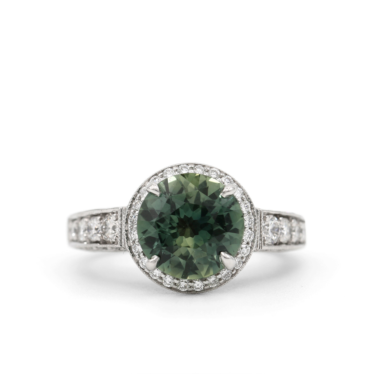 6bd6925182757 3.10 Carat Teal Sapphire & Diamond Ring in 18K White Gold