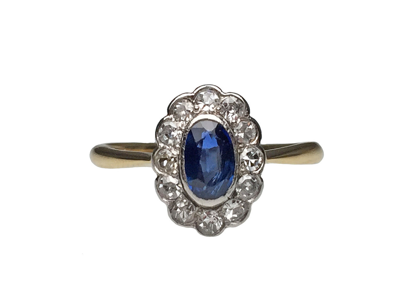 ea307322f83ed Silver Topped 18 Karat Yellow Gold Sapphire and Diamond Victorian Ring