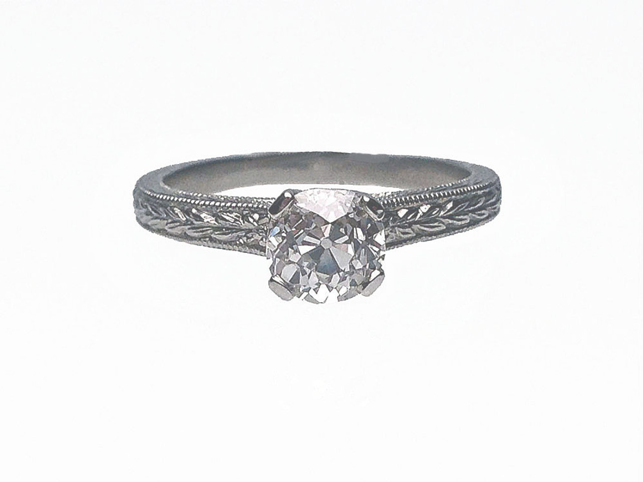 07e83c252 Platinum Engraved Shank Old European Cut Diamond Estate Engagement Ring