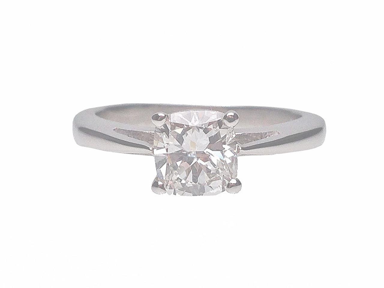 b14da854e 18 Karat White Gold Cushion Cut Solitaire Diamond Engagement Ring ...