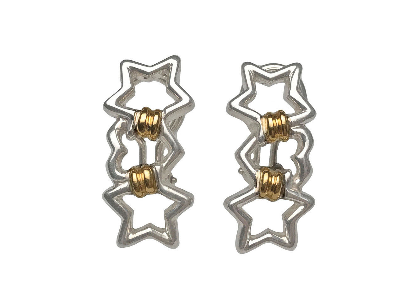 6ebde9a06 Tiffany & Co. Sterling Silver and 18 Karat Yellow Gold Heart and Stars Clip  Earrings