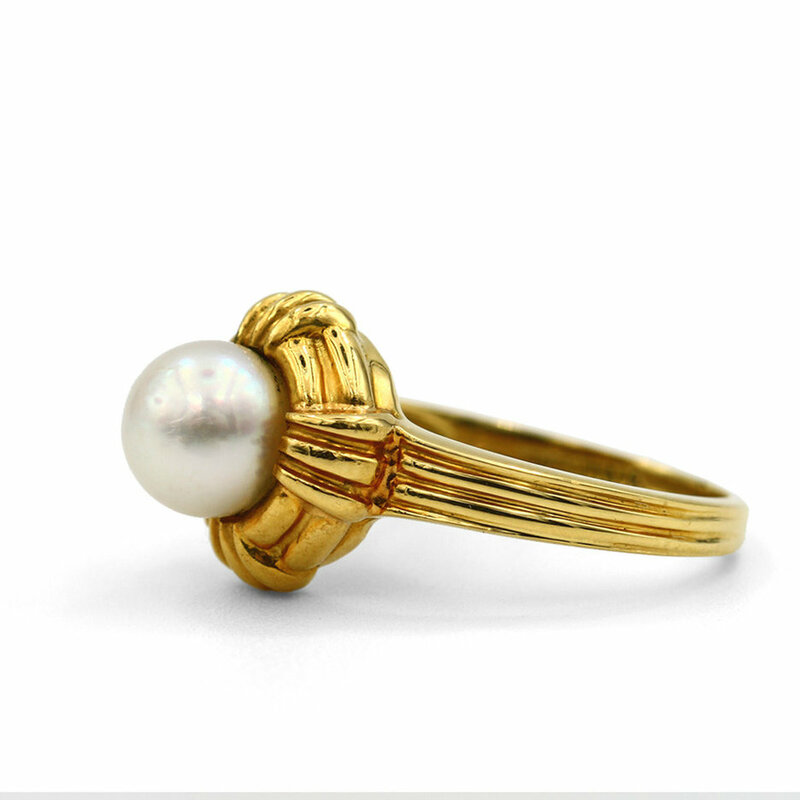 3f228654a 18K Yellow Gold Tiffany Pearl Ring - Lippa's Estate and Fine Jewelry