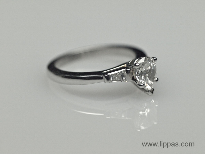 1945517a8 ... Platinum Pear Shape Diamond With Tapered Baguette Diamond Accents ...