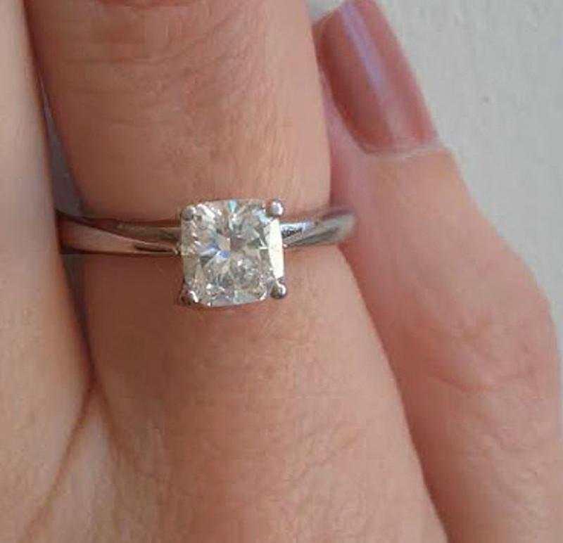 18 Karat White Gold Cushion Cut Solitaire Diamond Engagement Ring