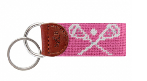 Lax Sticks Pink Needlepoint Key Fob