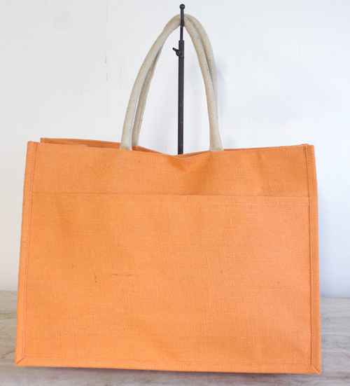 Jute Pocket Tote Orange