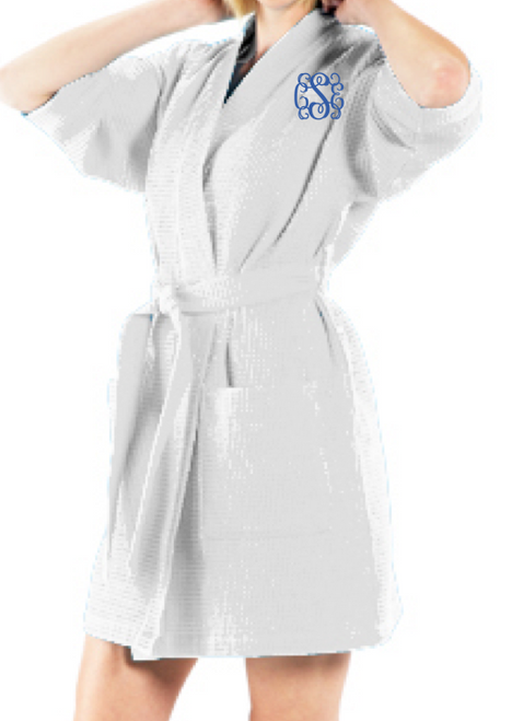 Waffle Robe White - Thigh Length
