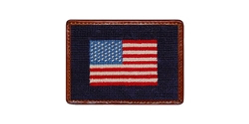 Needlepoint American Flag Credit Card Wallet