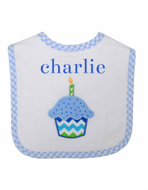 Blue Cupcake Feeding Bib