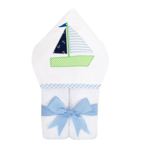 Everykid Hooded Towel - Blue Sailboat