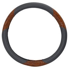 Golf Carts Steering Wheel Cover (RHOX Grey & Woodgrain)