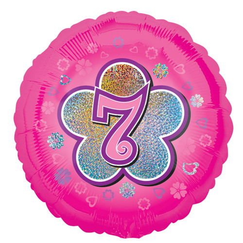H100 18in Foil Balloon Pink Age 7 Flower